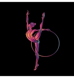 Rhythmic Gymnastics with Hoop Silhouette on black vector
