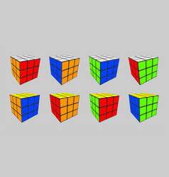 rubik cube in 8 positions vector image
