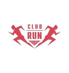 Run club geometric red label design vector