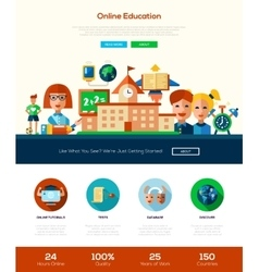 Scool education website header banner with vector image