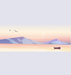 sea landscape with mountains in morning vector image