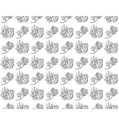 seamless pattern with pine cones conifer vector image