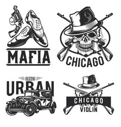 Set mafia emblems vector