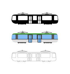 Set of flat tram icon cartoon outline vector