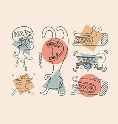 Set of funny bizarre graphic linear characters vector