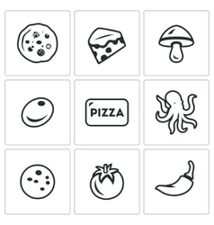 Set of toppings pizza icons cheese vector