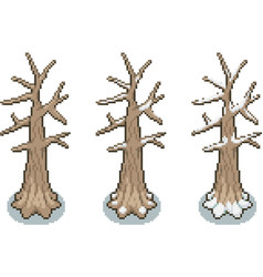 Set of trees in pixel style vector