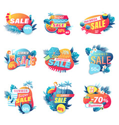 set summer sale banner shopping 3d style vector image