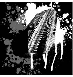 Skyscraper black and white graffiti vector