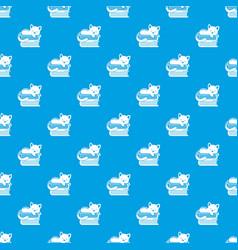 sleeping cat pattern seamless blue vector image