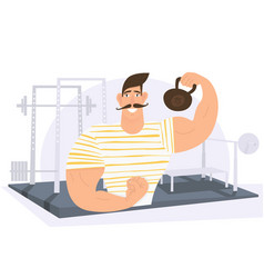 Strongman weight lifter holding weights in gym vector
