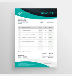 Stylish modern wavy business invoice template vector