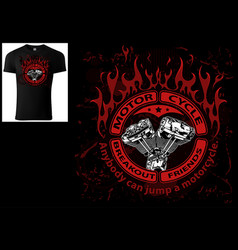 T-shirt design with engine and decorative flames vector