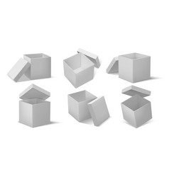 top open box realistic open and closed cardboard vector image