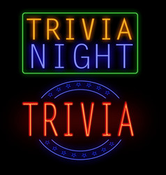 Trivia night glowing neon sign vector