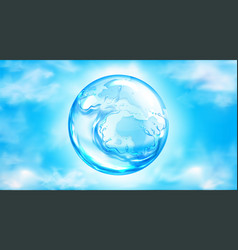 Water splashing sphere on blue sky background vector