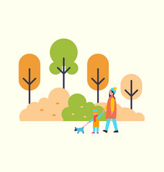 woman walking with child and cute pet dog outdoors vector image