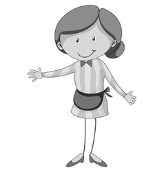 Woman wearing apron in black and white vector image