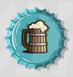 Wooden mug draft beer with foam on top view vector