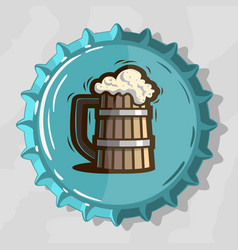Wooden mug of draft beer with foam on top view vector
