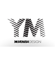 Ym y m lines letter design with creative elegant vector