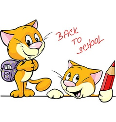 back to school - cat character with school vector image