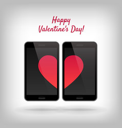 Cell phones and hearts vector
