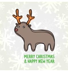 Cute deer postcard vector image