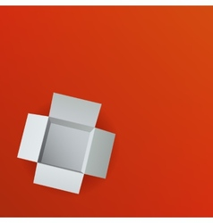 Open box on red background Top view vector image