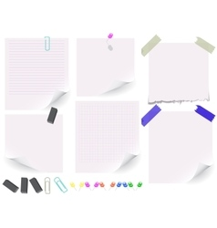 Set of white paper on white background vector image vector image