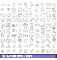 100 marketing icons set outline style vector image