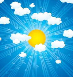 clouds sun rays and flying birds in the sky vector image