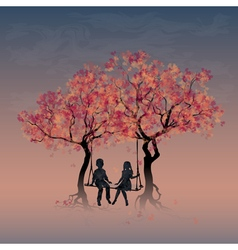 Couple on a swing between trees vector image