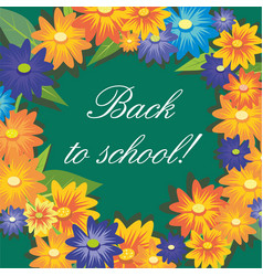 inscription back to school on background of green vector image