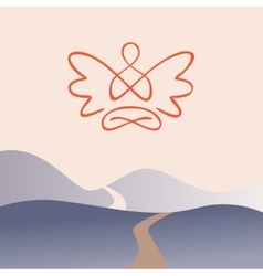 Meditation on a background of nature mountain vector