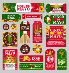 mexican cinco de mayo holiday gift tag and label vector image