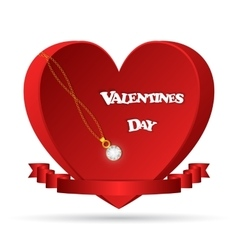 Red heart with dancing white text Valentine s day vector image