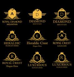 royal heraldic crest design logos icon vector image vector image