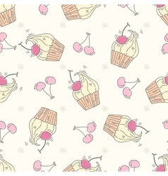 Seamless pattern with cupcakes and berries vector image vector image
