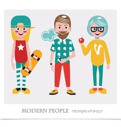 Set of cool modern people Infographics vector image vector image