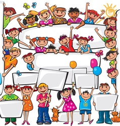Set of kids standing behind placard vector image vector image