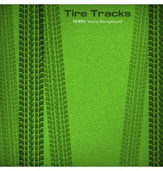 Tire tracks on green vector image