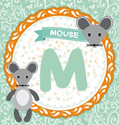 ABC animals M is mouse Childrens english alphabet vector image vector image