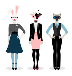 animals businesswoman icons vector image vector image