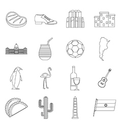 Argentina travel items icons set outline style vector