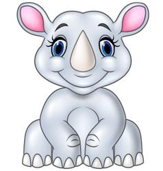 Cartoon baby rhino sitting isolated vector image vector image