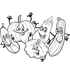 cucurbit vegetables for coloring book vector image