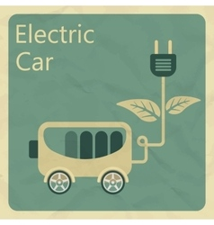 Electric car Flat retro style concept vector image vector image