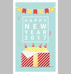 Happy new year 2017 card with chicken 5 vector image vector image