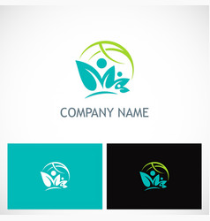 leaf ecology globe nature logo vector image